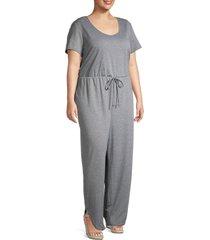 tiana b women's plus heathered tie-waist jumpsuit - grey - size 1x (14-16)