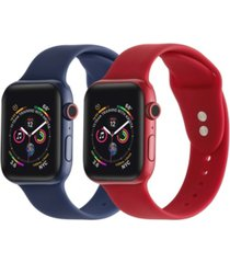 men's and women's red navy 2 piece silicone band for apple watch 42mm