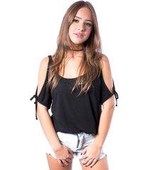 blusa ombro vazado up side wear preta