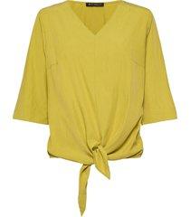 blouse short 3/4 sleeve blus långärmad gul betty barclay