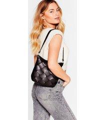 womens want a woven success shoulder bag - black