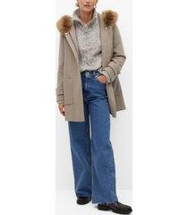 mango women's faux fur hooded coat