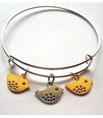three little birds two tone charm bracelet silver bangle adjustable expandable