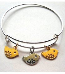 three little birds two tone charm bracelet silver bangle adjustable expandable