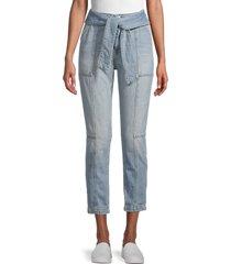 jonathan simkhai women's belted ankle jeans - blue medium - size 26 (2-4)