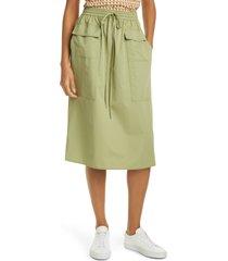 women's tory burch tie waist poplin skirt, size 6 - green