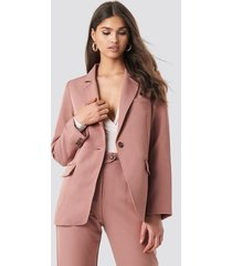 na-kd classic visible stitch straight fit blazer - pink