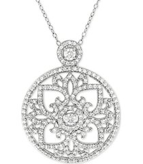 """cubic zirconia antique-look medallion 18"""" pendant necklace in sterling silver"""