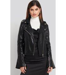 na-kd long sleeve pu biker jacket - black