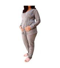 pijama inverno gestante maternidade cinza com coração - linda gestante