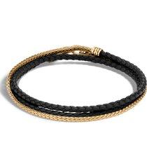 men's john hardy men's 18k gold chain & braided leather triple row bracelet