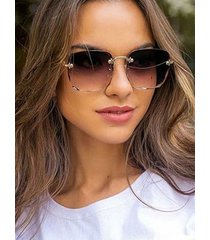 square gradient cutting edge rimless sunglasses