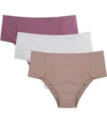 kit 3 calcinhas altas conforto feminina adulto