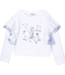 monnalisa white and blue sweatshirt with print