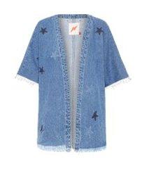 kimono jeans estrelas - azul
