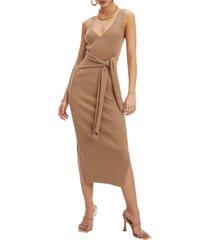 women's good american rib knit tie waist midi dress, size 4 - beige