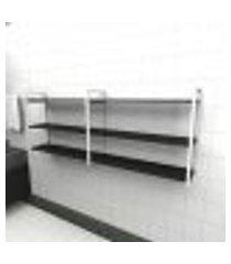 prateleira industrial banheiro aço cor branco 180x30x68cm (c)x(l)x(a) cor mdf preto modelo ind32pb