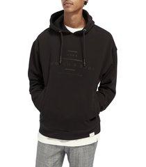 men's scotch & soda hooded sweatshirt, size small r - black
