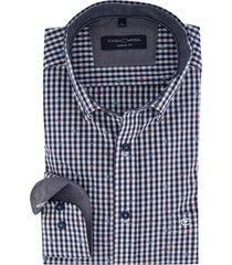 casa moda overhemd donkerblauwe ruit