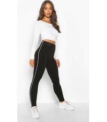 fleece lined side stripe supersoft leggings, black