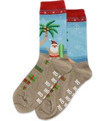 hot sox surfing santa crew socks