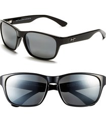 maui jim 'mixed plate - polarizedplus(r)2' 58mm sunglasses in gloss black/grey at nordstrom