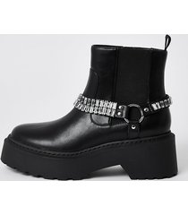 river island womens black ankle chain embellished boots
