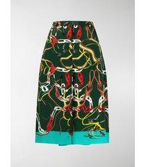 maison margiela chain-link print a-line skirt