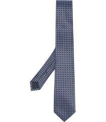 ermenegildo zegna jacquard squares silk tie - blue