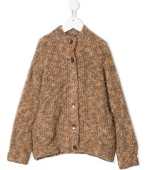 caffe' d'orzo chunky knit cardigan - neutrals