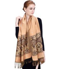 lyza sciarpe oversize stile folk da donna sciarpa scamosciata in tessuto jacquard scamosciato, scamosciata, scamosciata, adatta alla pelle