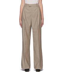centre pleat crop wool pants