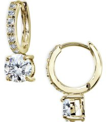 cubic zirconia huggie hoop earrings in 18k gold plated sterling silver