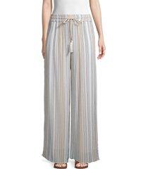 saks fifth avenue women's stripe wide-leg pants - brown blue - size l
