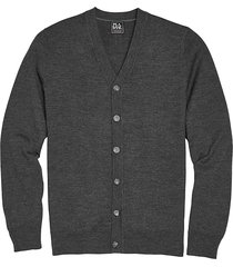 jos. a. bank traveler men's charcoal heathered modern fit merino wool cardigan - size: small