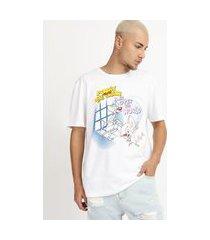 camiseta masculina pick e cérebro manga curta gola careca branca