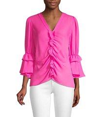 demy ruffle silk blouse