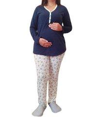 pijama linda gestante longo amamentação floral com botões feminina - feminino
