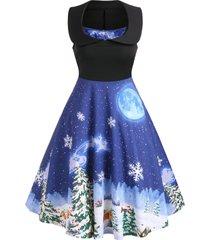 christmas print square collar sleeveless dress