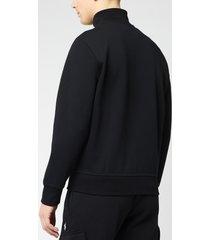 polo ralph lauren men's full zip mock neck sweatshirt - polo black/cream - xxl