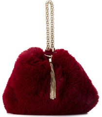 jimmy choo callie faux fur clutch - red