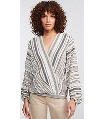 lou & grey dobby stripe wrap poet blouse