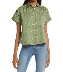 madewell hilltop daisies forever embroidered cotton shirt, size xx-large in bandana emb smaller faded palm at nordstrom