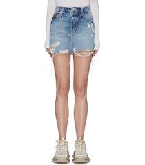 'the vagabond mini' colour topstitching pocket frayed hem denim skirt