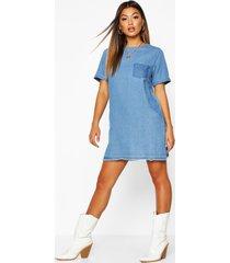 slouch pocket denim dress, light blue