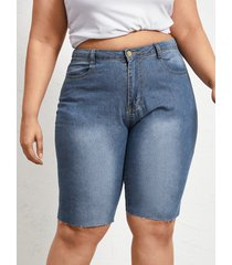 bolsillo delantero con cremallera de talla grande diseño shorts de mezclilla