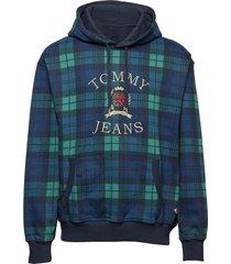 tjm plaid crest hood hoodie trui blauw tommy jeans