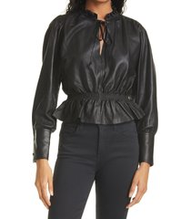 women's rebecca taylor glove leather blouse, size x-large - black