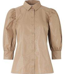 glanzende blouse met pofmouwen lamour  beige