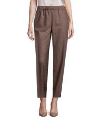 lafayette 148 new york women's finite italian flannel track pants - camel - size xl